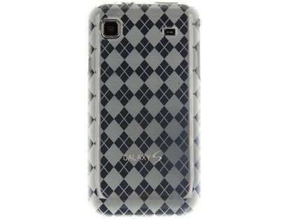 Flexible Plastic TPU Phone Case Cover Transparent Clear Checkers For Samsung Vibrant Galaxy S 4G