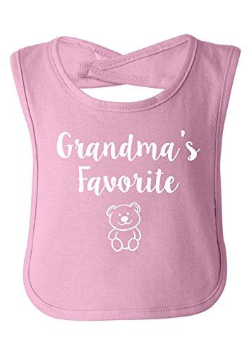 (Strange Cargo Grandma's Favorite Grandchild Grandbaby Cute Baby Bib Baby Shower Gift Light Pink)