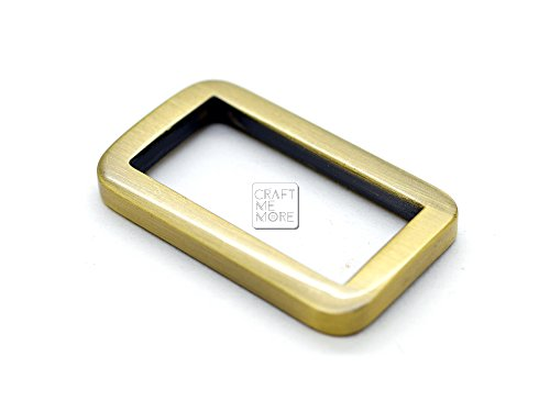 CRAFTMEmore Metal Flat Rectangle Rings Buckle for Bag Belt Strap Webbing Heavy Duty Loop Quality Finish 6 Pack (1 Inch (25 mm), Brushed Gold (Bronze))
