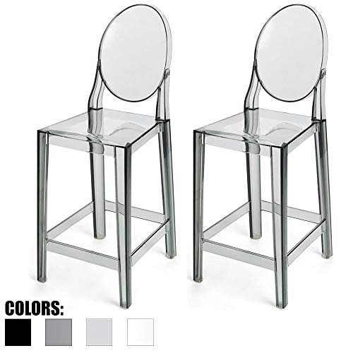 Flat Seat Counter Stool - 2xhome Set of Two (2) - Smoke - 25