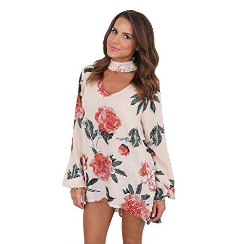 La Parka Costumes (Vovotrade Womens V Neck Long Sleeve Floral T-Shirt Ladies Chiffon Tops Loose Blouse (S, Beige))