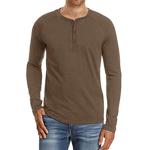 Thermique shirts Marron Blouse Top shirt Chemise Fit Col Tee Casual Winjin Pullover T Couleur Shirt Unie Chemises Manches Haut Sweat Longues Rond Lâche Homme Slim Pull 7KHK0x4wfq