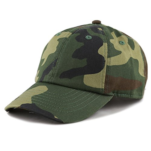 The Hat Depot Kids Washed Low Profile Cotton and Denim Plain Baseball Cap Hat (Woodland Camo) -