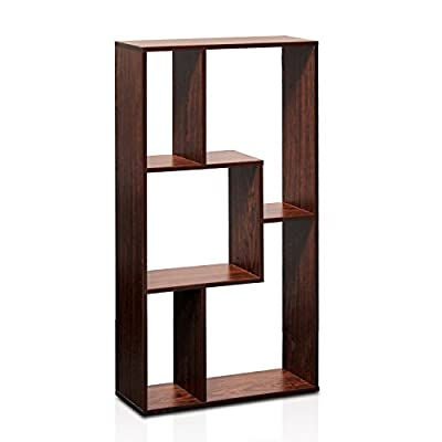 Furinno FNAJ-11073 Boyate Magic Cube Five Grid Storage Rack, Walnut - Simple yet creative design can be used in any room Material: CARB compliant composite wood. Fits in your space and needs, fits on your budget - living-room-furniture, living-room, bookcases-bookshelves - 41Y4eb5SbVL. SS400  -