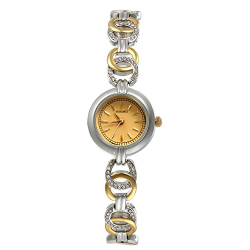 Women's Japan Quartz Skeleton Bracelet Band Watch Small Face Slim Stainless Steel Wrist Watch (Gold) by Lancardo