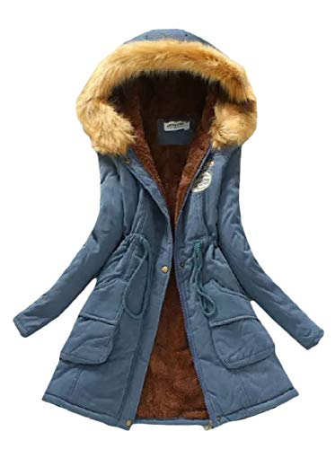 Blue Parka Jacket Mogogo Pockets Sleeve Mid Drawstring Long Womens Velvet Long Denim qz1qWpaP8