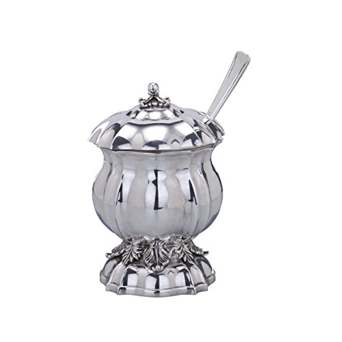 Hazorfim Bellagio Royal Silver Honey Dish Rosh Hashana Jewish New Year gift sterling silver handmade in israel 925 Honey dish Judaica (Rosh Hashana Honey)