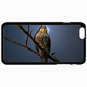 Personalized Protective Hardshell Back Hardcover For iPhone 6 Plus, Bird In Moonlight Design In Black Case Color