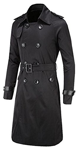 FCYOSO Men's Trench Coat Double Breasted Overcoat Jacket with Waist Belt (US,XL/Asia,2XL) Black (Leather Trench Mens Long Coat)