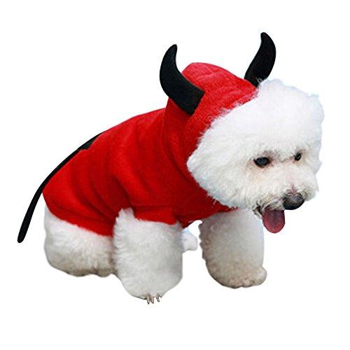 GOGO Halloween Devil Pet Costume, Fleece Devil Dog Hoodie (Devil Costume For Dogs)