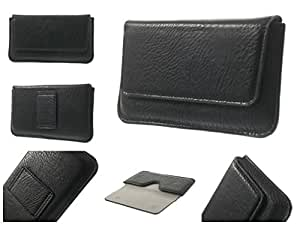DFV mobile - Belt Case Cover Premium for Elephant Synthetic Leather Horizontal for => Videocon A51 > Black