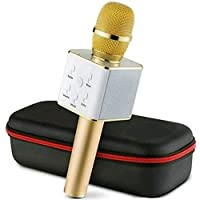 BMC Karaoke Mic Handheld Wireless Microphone Mic With Audio Recording Bluetooth Speaker & Karaoke Feature For All Tablets PCs iOS Android Smartphones (Random Color) (Q7)