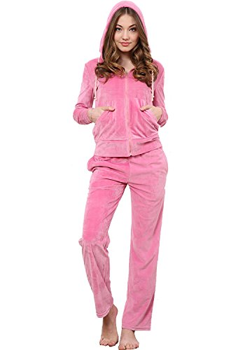 Godsen Women's Velour Classic Hoodie and Pants Tracksuit 6 Color (US-L/China-XXL, PINK--100% Polyester)