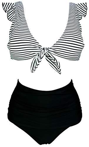 Ruched Spandex Halter Top - COCOSHIP Black White Striated Stripe Sailor High Waist Ruched Bikini Set Tie Front Closure Top Ruffle Straps Cruise Swimwear 10