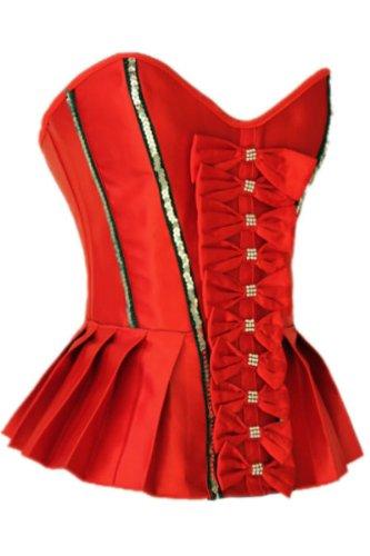 Pinkyee ropa interior mujer San Valentín Rhinestone Volantes corsé rojo rojo XXL