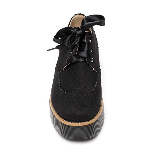 Ideal Shoes, Damen Schnürhalbschuhe Schwarz