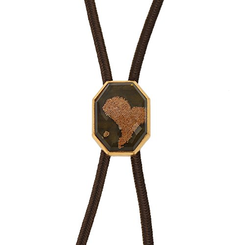 Tamarusan Braid Bolo Tie Silver Silk Cord Heart Green Gold Handmade Original ()