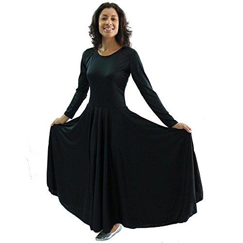 Danzcue Womens Praise Loose Fit Full Length Long Sleeve Dance Dress, Black, Large