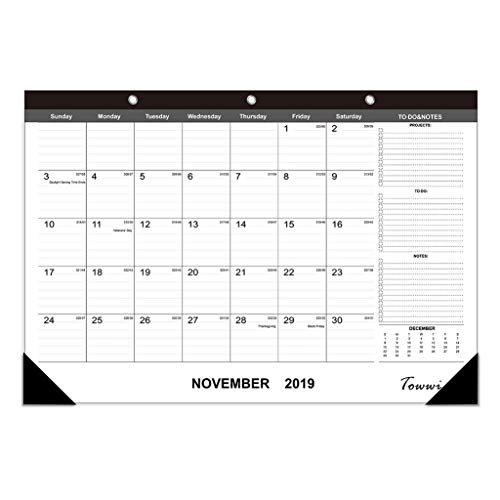 TOWWI 2019-2020 Year Monthly Desk Pad Calendar, 16.8