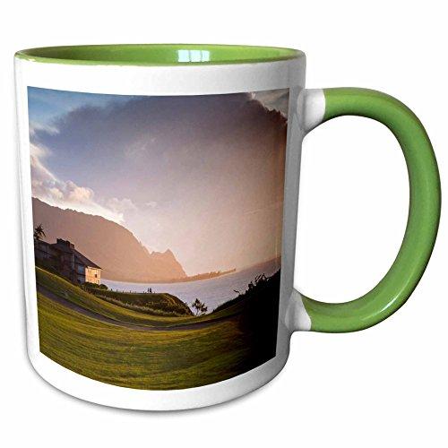 Princeville Golf - 3dRose Danita Delimont - Golf Courses - Makai golf course in Princeville, Kauai, Hawaii, USA - US12 MWR0131 - Micah Wright - 15oz Two-Tone Green Mug (mug_144284_12)