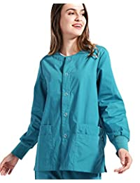 Nideen Women's Scrub Warm Up Jacket Solid Medical Scrub Jacket Nurse Uniform Lab Coat