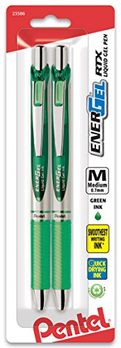 (Pentel EnerGel Deluxe RTX Retractable Liquid Gel Pen, 0.7mm, Metal Tip, Green Ink, 2 Pack (BL77BP2D))