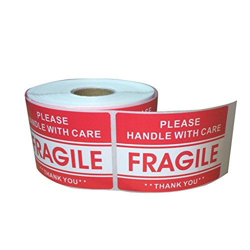 Red Fragile Warning Stickers for Safe Shipping Packing of Goods with Clear Large Font Text and Strong Adhesive Backside | 1 Roll 500 Labels 2 x 3 (500)
