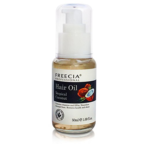 Freecia Professional Coconut Oil Frizz Control Hair Serum With Natural Ingredients For Anti Frizz Hair - Smoothing All Hair Types For Frizzy Hair - Silk Serum Split End Protection Therapy 1.69 Ounces