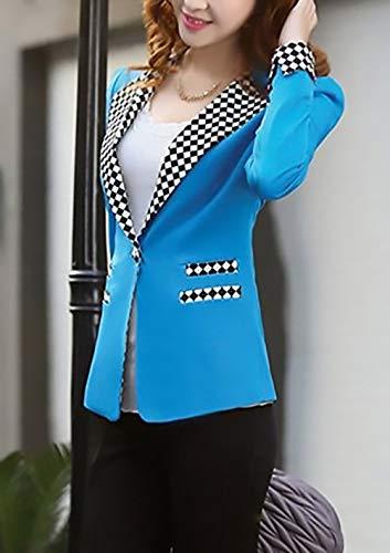 Slim Lunga Blu Fit Tailleur Rotondo Collo Donna Single Primaverile Cappotto Breasted Manica Chic Giacche Eleganti Autunno Giacca Corto Fashion Da Casual Ragazza Blazer Ufficio Cardigan AqtxCwnYf