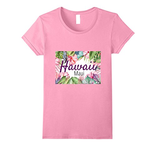 Womens Hawaiian Island Maui T-Shirt with tropical Flowers. Large Pink