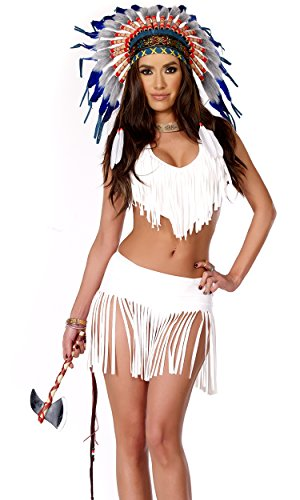 [Forplay Women's Indian Summer Fringe Top and Skirt Panty and Tomahawk, White, Medium/Large] (Forplay Costumes Indian)