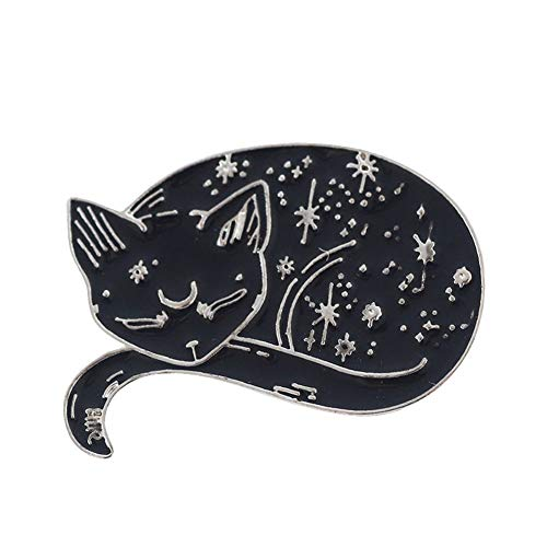 Quietcloud Elegant Lazy Cat Sleeping Position Women Men Mystical Cat Enamel Brooch Pin Jacket Collar Jeans Shirt Badge Jewelry Black + Silver
