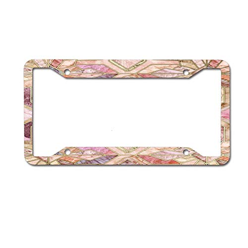GqutiyulUCOOL Personalized License Plate Frame Aluminum Decorative Car Plate Frame Auto Tag Frames 4 Holes - Geometric Gilded Stone Tiles in Blush Pink Peach and Coral
