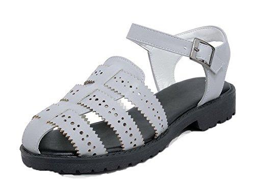 Sandales à Cuir Femme d'orteil PU Bas Talon Gris Ouverture Unie Couleur VogueZone009 vqngZpn