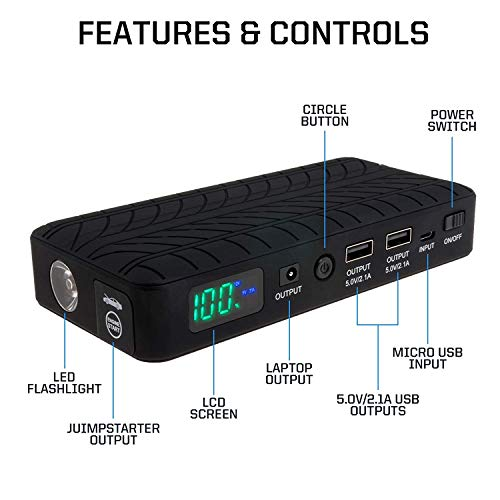 NEW 2019 Rugged Geek RG1000 INTELLIBOOST 1000A Portable Auto Jump Starter and Power Supply with LCD Display. USB Laptop Charging. Emergency Auto Jump Box for Cars, Trucks, SUVs, and Motorbikes. by RUGGED GEEK (Image #1)