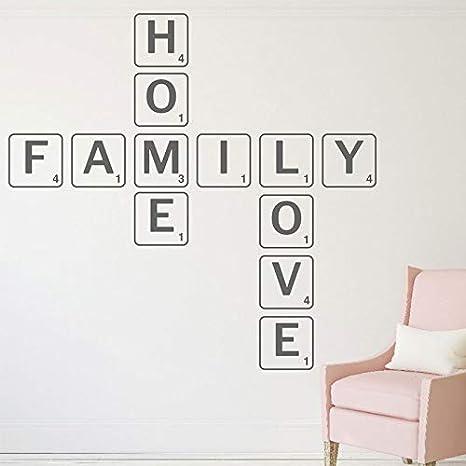 Scrabble estilo 196 * 190cm casa familiar Love quote etiqueta de la pared para salon en vinilo adhesivo WALLPAPER mural bricolaje casa decoracion: Amazon.es: Bebé