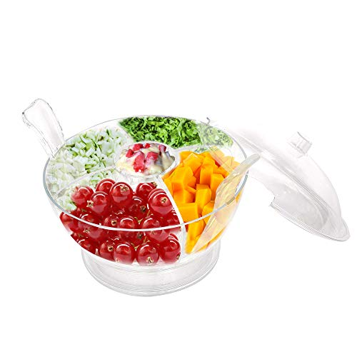 - KARMAS PRODUCT Serving Salad On Ice Bowl with Dome Lid and Vented Ice Chamber,Salad/Fruits/Seafood Servers