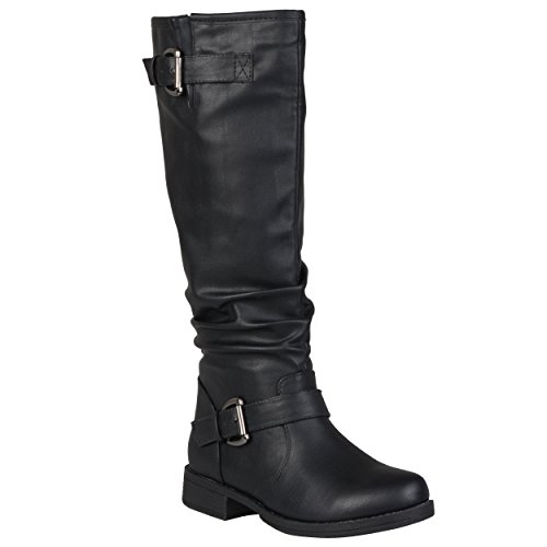 Buckle Black Calf Leather - Journee Collection Womens Regular Sized and Wide-Calf Buckle Knee-High Riding Boots Black, 8.5 Wide Calf US