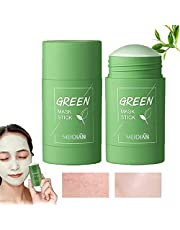 2Pcs Green Mask Stick, Green Tea Purifying Clay Stick Mask, Face Moisturizes Oil Control Deep Cleansing Pore Lmproves Skin For All Skin Types Men Women