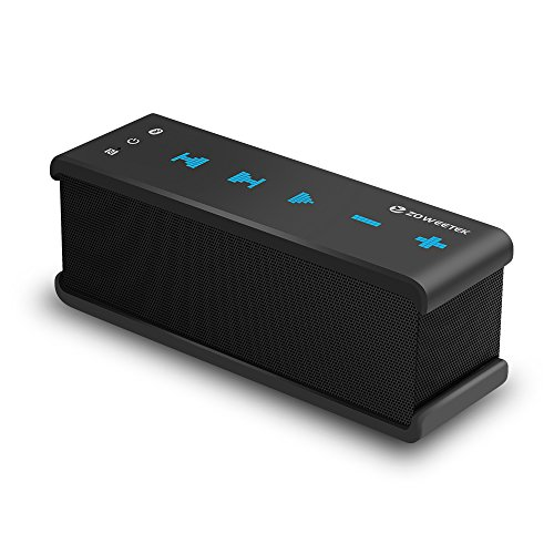 Zoweetek Portable Bluetooth Speaker with AUX Input and NFC, Dual Drivers Wireless Stereo Speakers with Bass for Outdoors & Home