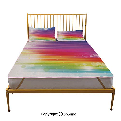 (Rainbow Creative Queen Size Summer Cool Mat,Abstract Lines in Rainbow Formation with White Circles Movement Depiction Art Print Sleeping & Play Cool Mat,Multicolor)