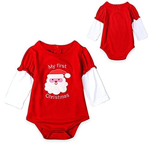 Metup Infant Baby Girls My First Christmas Onesies Long Sleeve One Piece Bodysuit Cotton Red 80