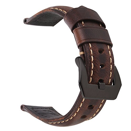 EACHE 22mm Genuine Leather Watch Band Dark Brown Oil-tanned Natural Crack Leather Wrist Straps with Black Buckle