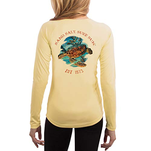 (SAND.SALT.SURF.SUN. Sea Turtle Women's UPF 50+ Long Sleeve T-Shirt Small Pale Yellow)