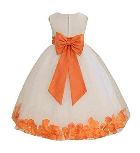 Wedding Pageant Flower Petals Girl Ivory Dress with