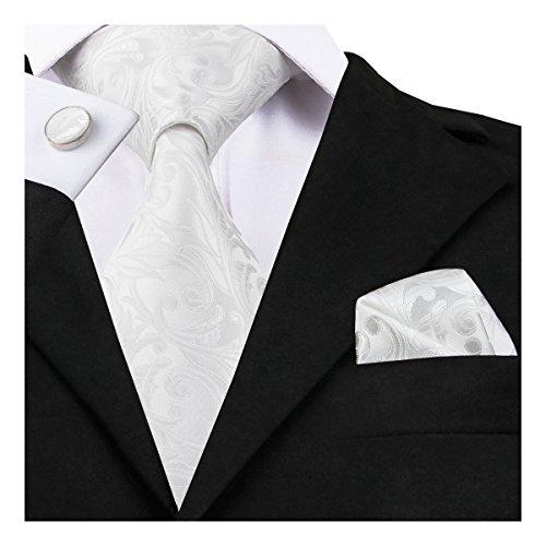 Hi-Tie Mens Silk Tie Hanky Cufflinks set (White)