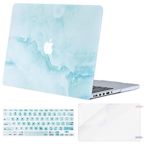 MOSISO Case Only Compatible with Older Version MacBook Pro Retina 13 inch (Model: A1502 & A1425)(Release 2015-end 2012),Plastic Pattern Hard Shell&Keyboard Cover&Screen Protector,Hot Blue Cloud Marble