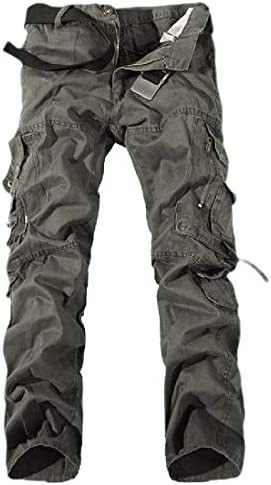 Joe Wenko Mens Outside Casual Straight Multi Pocket Fitness Trousers Camo Mid Rise Pants