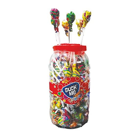 ALKAS Suck ME Assorted Fruit Flavor Lollipop ( 9 g x 125 pcs ) jar Pack