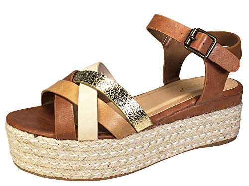 - BAMBOO Women's Multi Cross Band Espadrilles Platform Sandal with Quarter Strap, Tan, 7.5 B (M) US